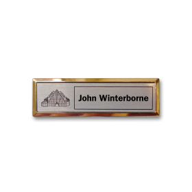 B3 lightweight injection moulded namebadge gold frame by Fattorini - 75 x 25mm