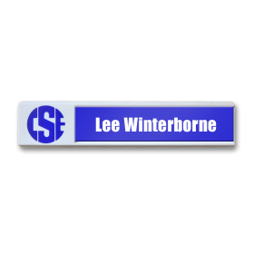 78x14 robust white plastic name badge by Fattorini 70 x 35mm