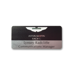 P4 silver metal panel name badge by Fattorini 73 x 33mm