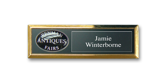 B2 lightweight injection moulded namebadge gold frame by Fattorini - 69 x 21mm