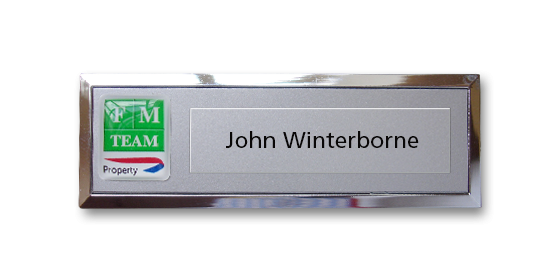 B2 lightweight injection moulded namebadge chrome frame by Fattorini - 69 x 21mm