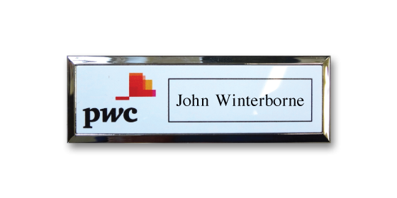 B3 lightweight injection moulded namebadge silver frame for a chartered accountancy firm by Fattorini - 75 x 25mm