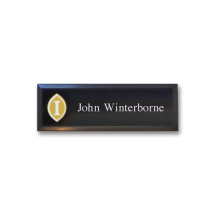 B31 lightweight injection moulded namebadge black frame by Fattorini - 75 x 25mm