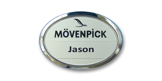 B5 lightweight injection moulded oval namebadge chrome frame by Fattorini - 54 x 39mm
