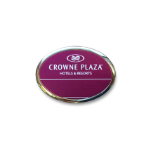 B5 lightweight injection moulded oval namebadge chrome frame by Fattorini - 75 x 25mm