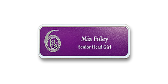 H1 robust white frame purple metallic insert name badge by Fattorini 57 x 21mm