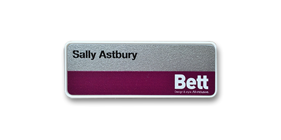 H1 robust white frame name badge by Fattorini 57 x 21mm
