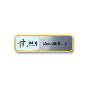 H2 Name badge in Yellow frame 70 x 20mm