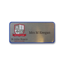 H45 robust blue frame namebadge by Fattorini 75 x 35mm