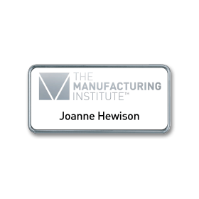 H4 robust chrome plated frame name badge by Fattorini 75 x 25mm