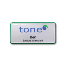 H45 robust green frame namebadge dome printed by Fattorini 75 x 35mm