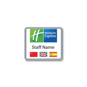 H63 robust chrome plated frame name badge by Fattorini 52 x 45mm