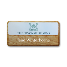Wood effect name badge