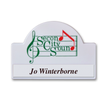 MS093 white plastic name badge by Fattorini 67x 46mm