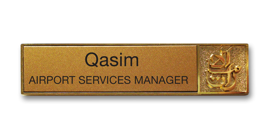 Metal gold plated namebadge by Fattorini 60 x 12mm