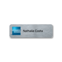 PH33 silver metal panel name badge by Fattorini 73 x 23mm