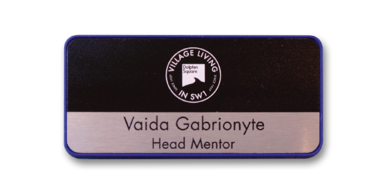 R45 elegant blue slim frame name badge by Fattorini 75 x 35mm