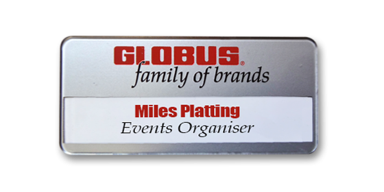 SL43 slim-line re-usable reverse printed silver faced name badge by Fattorini 72 x 33mm
