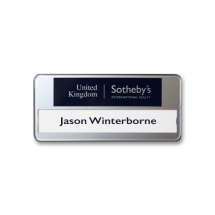 SL40 slim-line re-usable reverse printed white name badge by Fattorini 72 x 33mm