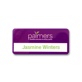 SL462 slim-line re-usable reverse printed purple name badge by Fattorini 72 x 33mm