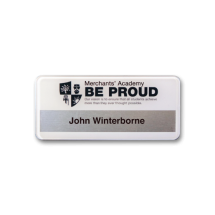 SLX40 slim-line permanently named reverse printed white name badge by Fattorini 72 x 33mm