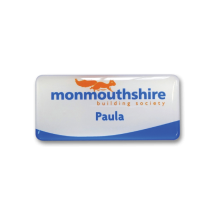 SL4 slim white plastic name badge by Fattorini printed solid colour & UV domed 72 x 33mm