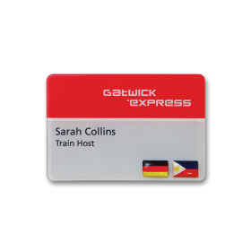 SL6 slim white plastic name badge by Fattorini 67 x 45mm reverse printed