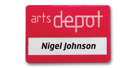 SL6 slim-line re-usable reverse printed red name badge by Fattorini 67 x 45mm