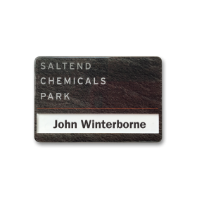 SL6 slim-line re-usable reverse printed wood effect name badge by Fattorini 67 x 45mm