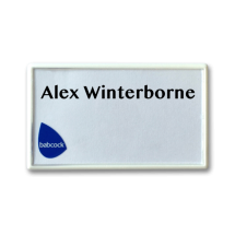 SNAP-FIT reusable economical white name badge by Fattorini 70 x 40mm