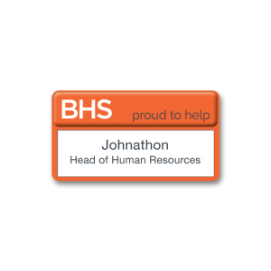 V3 Versatile self nameing practical name badge, orange frame, dome printed. Laser paper available by Fattorini 77 x 37mm
